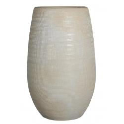 IGMAR - Vase Céramique Blanc Mat Relief D18 x H35 cm
