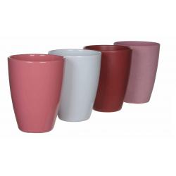 TOSCA - Cache Pot Céramique Orchidée Ass 4 coul D13,5 x H17 cm par 4