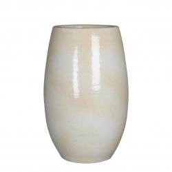 IGMAR - Vase Céramique Blanc Brillant Relief D18 x H35 cm