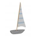 LARMOR - Bateau Bois Bleu L15 x P4,5 x H30,5 cm
