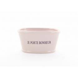 """LUCKY - Jardinière Céramique L15 x H7.5 cm Crème """"Porte Bonheur"""""""