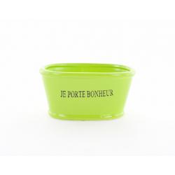 """LUCKY - Jardinière Céramique L15 x H7.5 cm Vert """"Porte Bonheur"""""""