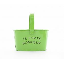 """Jardinière Zinc avec Anse """"Porte Bonheur"""" Vert Anis  D14 x H8 cm"""