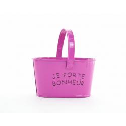 """Jardinière Zinc avec Anse """"Porte Bonheur"""" Fuchsia  D14 x H8 cm"""