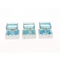LAGON - Cube Verre bleu et support bois blanc Assortis L7,5 x H8 cm par 3