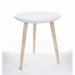 SIM - Table Bois Blanchie D43 x H46 cm