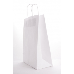 SAC KRAFT - Blanc 90g a/torsadées 18x8x22 cm - 50 sacs