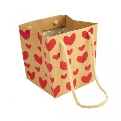 Sac Papier Kraft Coeur Rouge 17 x 17 x h 17 cm par 10
