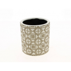 JAYA - Cache Pot Céramique Rond Ethnic Blanc D11 x H11 cm