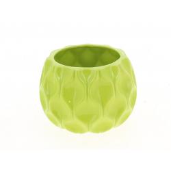 ALBA - Cache Pot Céramique Rond Facettes Vert D14 x H10 cm Par 4