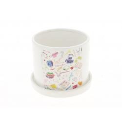 JUNE - Cache Pot Céramique Rond Blanc Ecole D12 x H9 cm