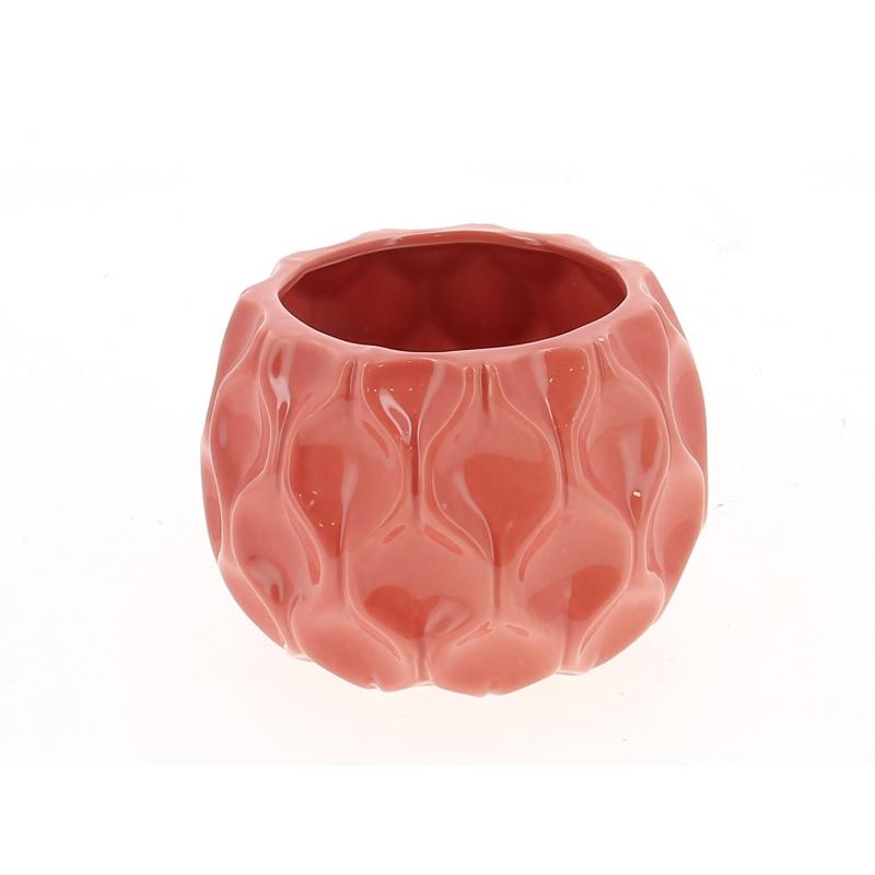 ALBA - Cache Pot Céramique Rond Facettes Rouge D14 x H10 cm Par 4