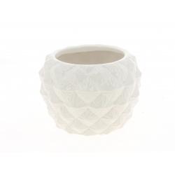 ALBA - Cache Pot Céramique Rond Facettes Blanc D14 x H10 cm Par 4