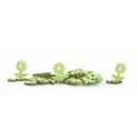 Fleurs Feuille bois d5 cm Vert par 30