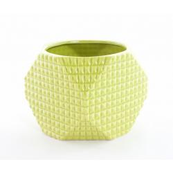 ALBA - Cache Pot Céramique Octo Facettes Vert D14 x H10 cm par 6