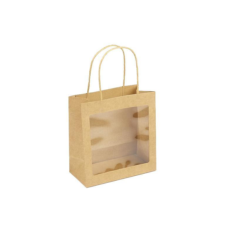 Sac Anse Kraft avec Fenêtre 19x10x20 cm par 10
