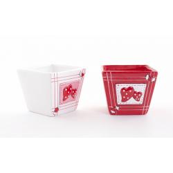 Cache Pot Carré Céramique Coeur Blanc / Rouge L11 x H9 cm