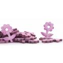 Fleurs Feuille bois d5 cm lilas par 30