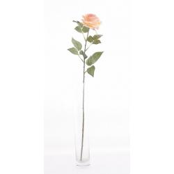 CILY - Rose ouverte artificielle H64 cm Pêche