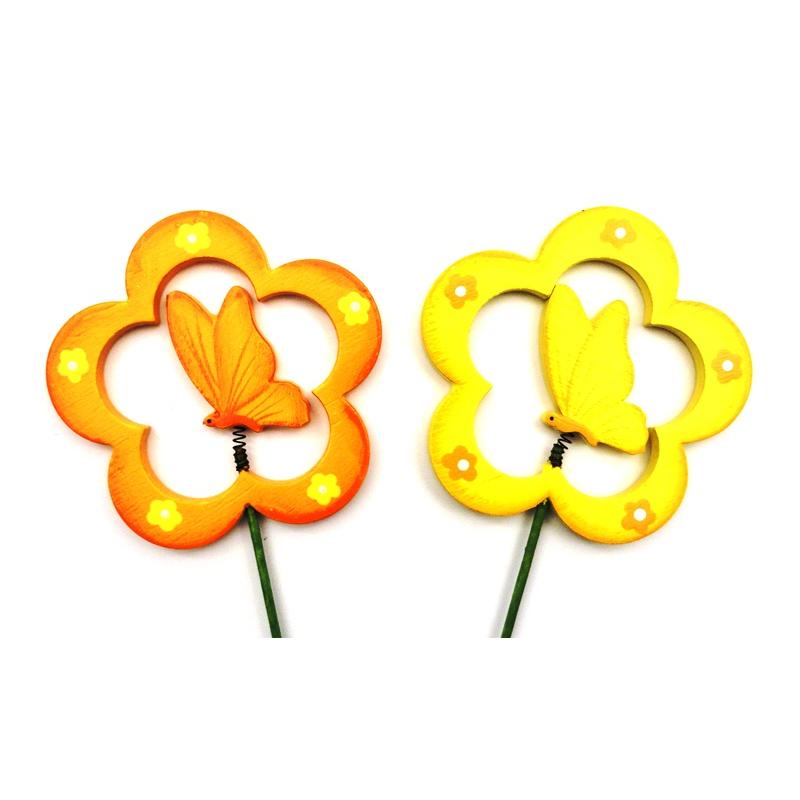 Pique Papillon bois ds Fleur par 12