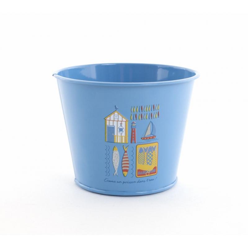 BELLE - Cache Pot Zinc Rond Bleu Mer D11,5 x H9 cm