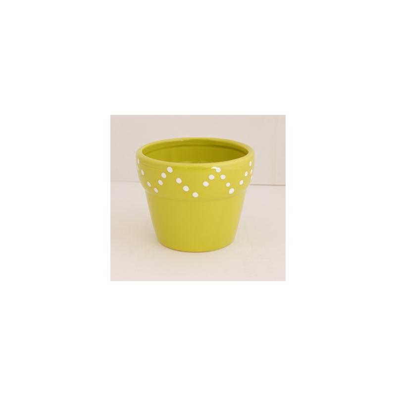 Pot Céramique dolomite Vert d10.5xh8.5 cm par 4