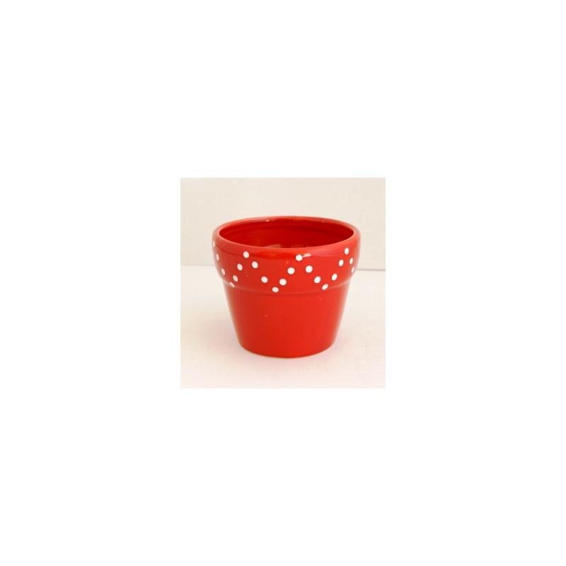Pot Céramique dolomite Rouge d10.5xh8.5 cm par 4
