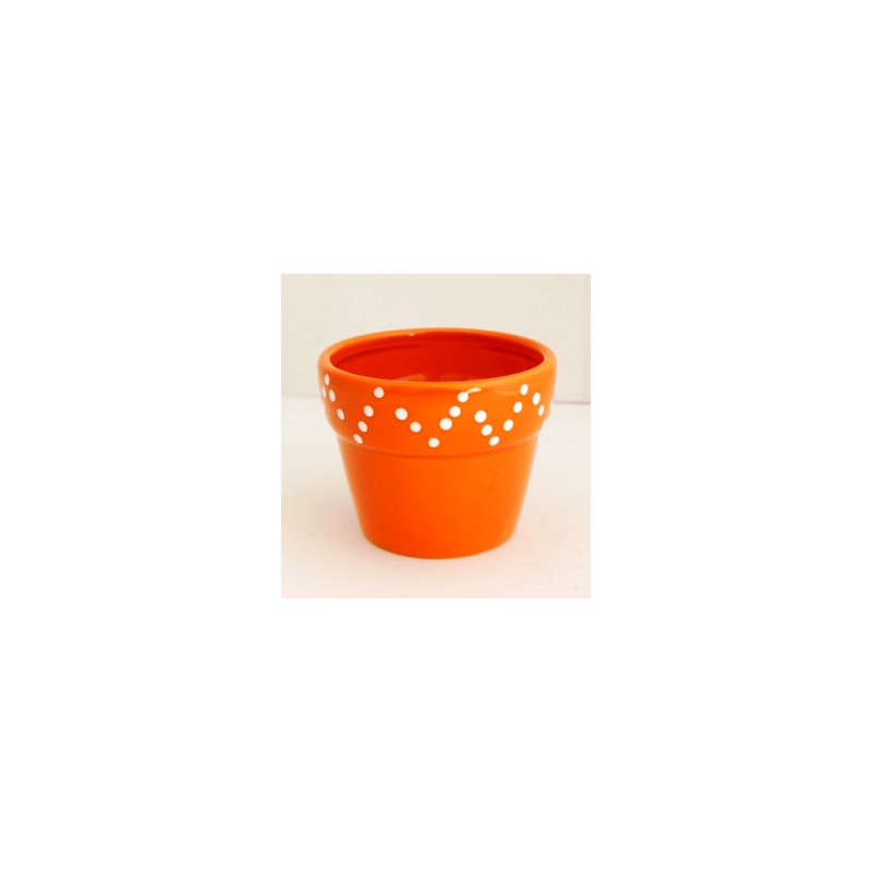 Pot Céramique dolomite Orange d10.5xh8.5 cm par 4