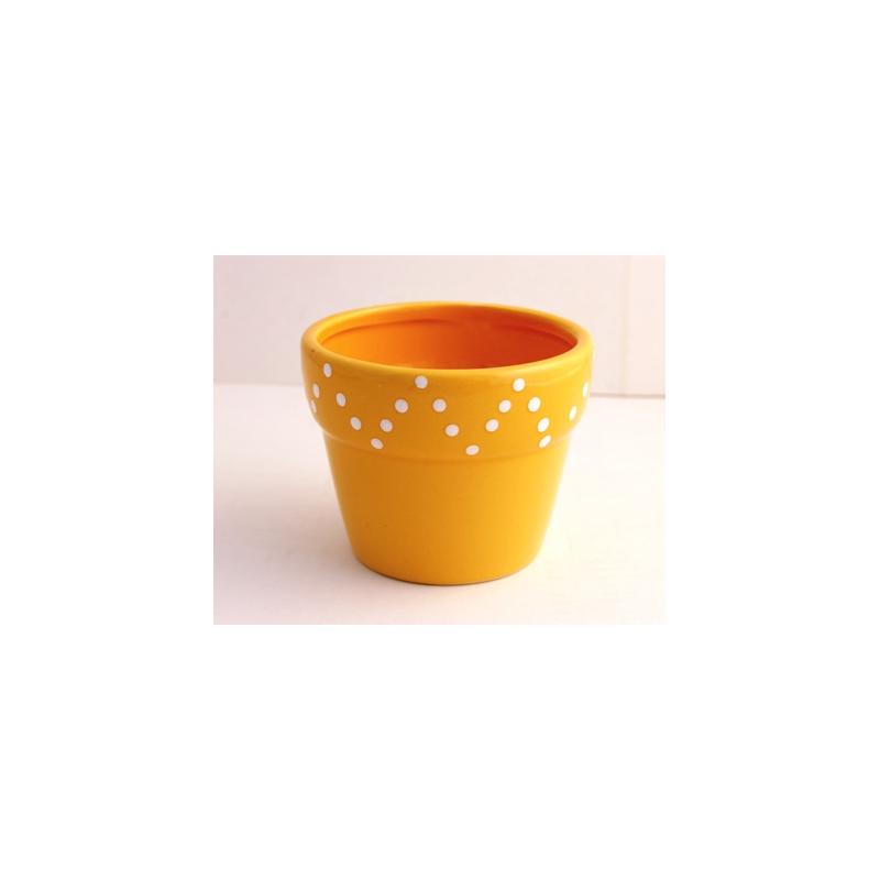 Pot Céramique dolomite Jaune Foncé d10.5xh8.5 cm par 4