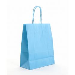 Sac Kraft Turquoise  90g torsadées 18x8x22 - 50 sacs