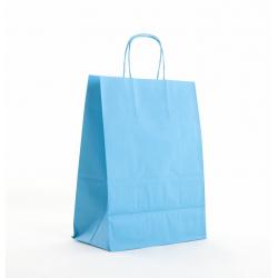 Sac Kraft Turquoise 100g torsadées 23x12x30 - 50 sacs