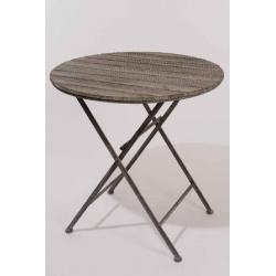 Table ronde Bois/Métal D70 Gris blanchi
