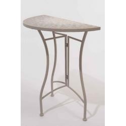 Table demi rond en métal et mosaïque D70 H72 Gris