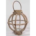 Lanterne bois ronde a/Anse D37 H41 Gris blanchi