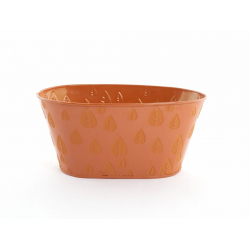 Jardinière zinc 21x11.5 H10 Orange Feuilles par6