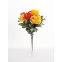 Bouquet Rose Coquelicot 13 tiges h33 cm