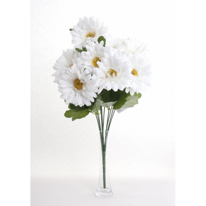 Bouquet Gerbera Blanc 10 têtes H45cm