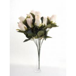 Bouquet Roses Boutons Blanc 12 têtes H45cm