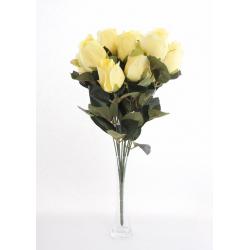 Bouquet Roses Boutons Jaune 12 têtes H45cm