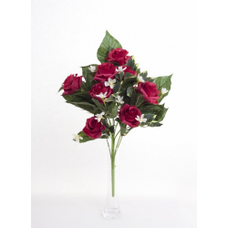 Bouquet Vertical Roses Rouge 10 têtes H45cm
