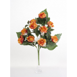 Bouquet Vertical Roses Orange 10 têtes H45cm