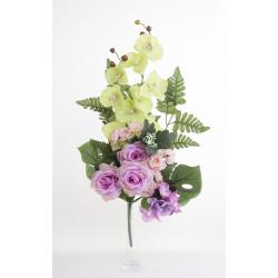 Bouquet Vertical Orchidée Rose Lavande H45cm
