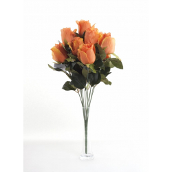 Bouquet Roses Boutons Orange 12 têtes H45cm