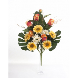 Bouquet Vertical Gerbera Rose Jaune H45cm