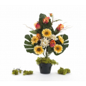 Bouquet Vertical Gerbera Rose Jaune H45cm