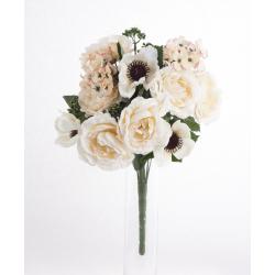 Bouquet Roses Anemones Crème 18 têtes H45cm