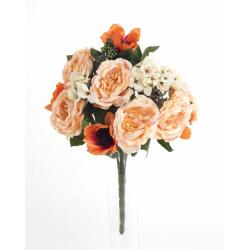 Bouquet Roses Anemones Pèche 18 têtes H45cm