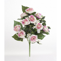 Bouquet Vertical Roses Rose 10 têtes H45cm