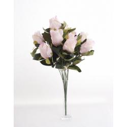 Bouquet Roses Boutons Rose 12 têtes H45cm