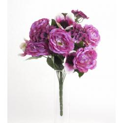 Bouquet Roses Anemones Beauty 18 têtes H45cm